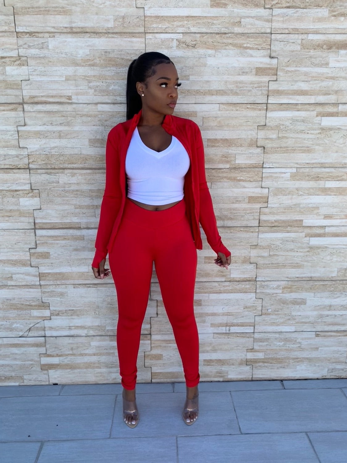 Red luxe track suit