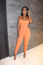 Orange textured knit set