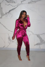 Wine satin pant set