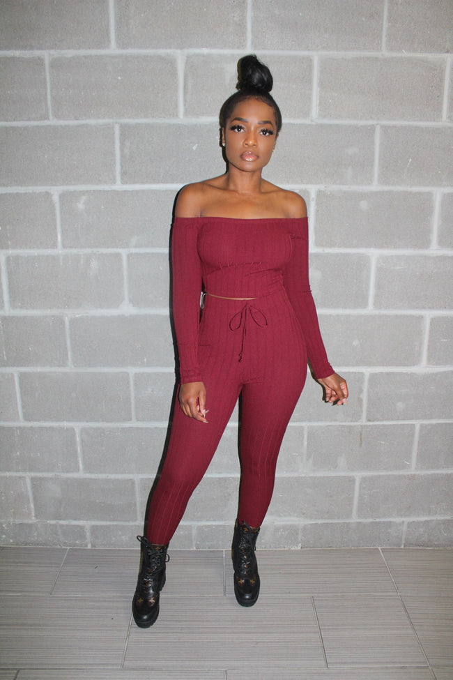 Burgundy cold shoulder knit set