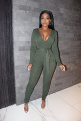 Olive belt jumpsuit