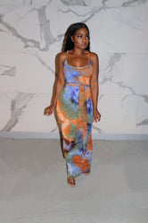 Orange blue tie dye maxi