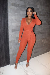 Spice belt jumpsuit