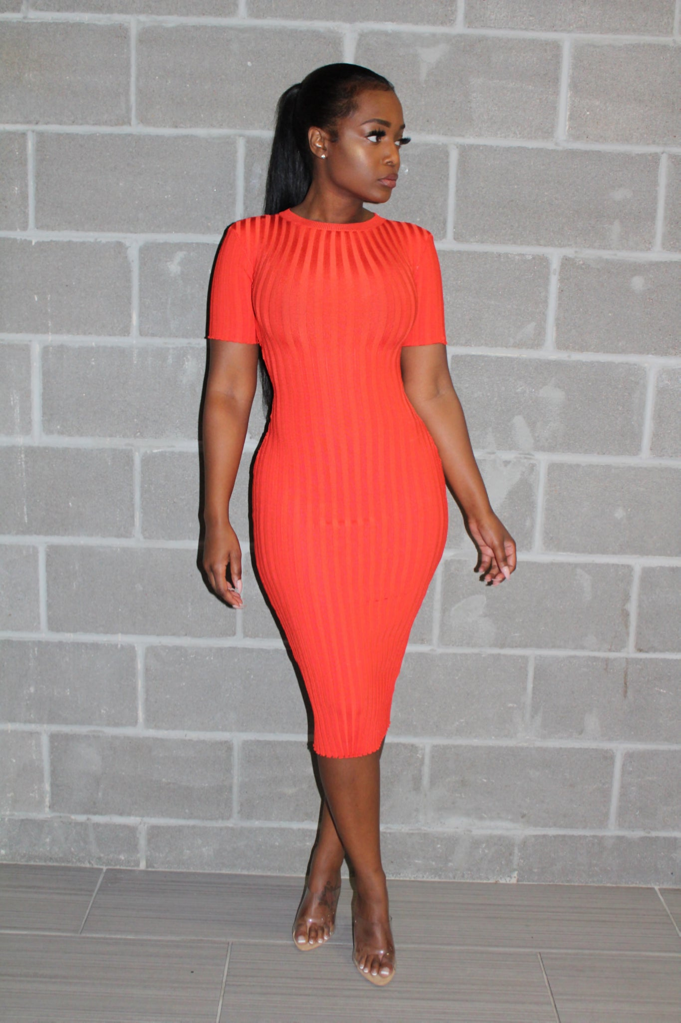 Tangerine knit bodycon