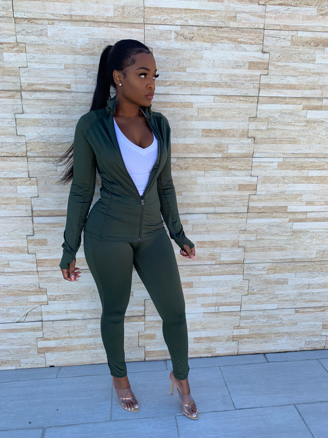 Olive luxe tracksuit