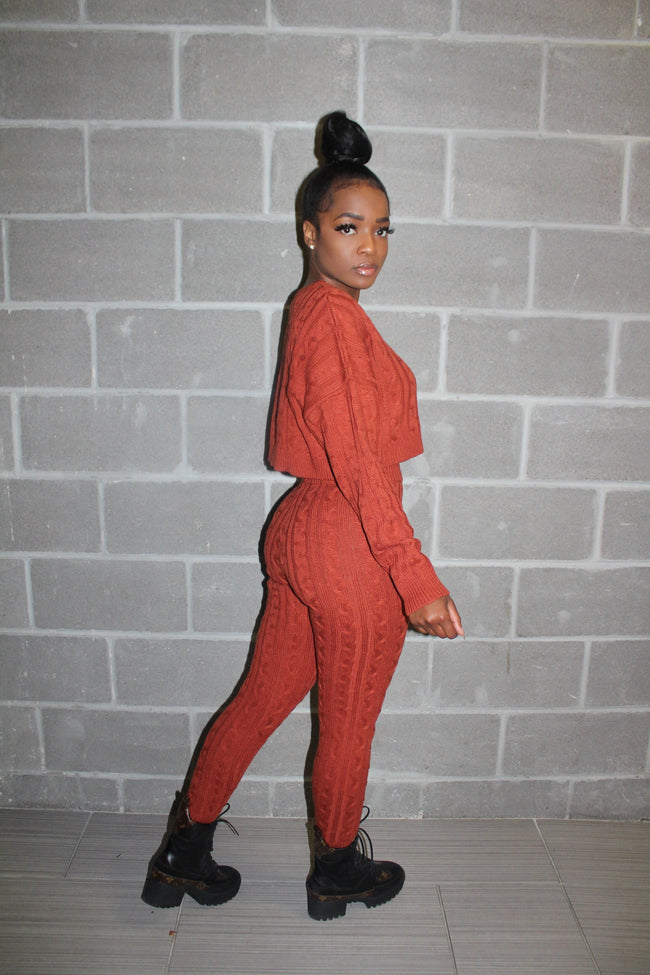 Orange sweater pant set