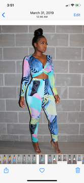 Mixed blues pant set