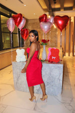 Red ruched tube dress