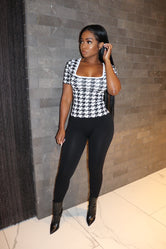 Houndstooth laced top