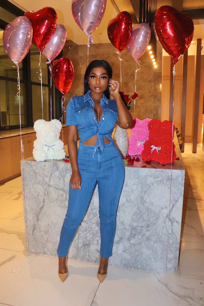 Tie denim jumpsuit