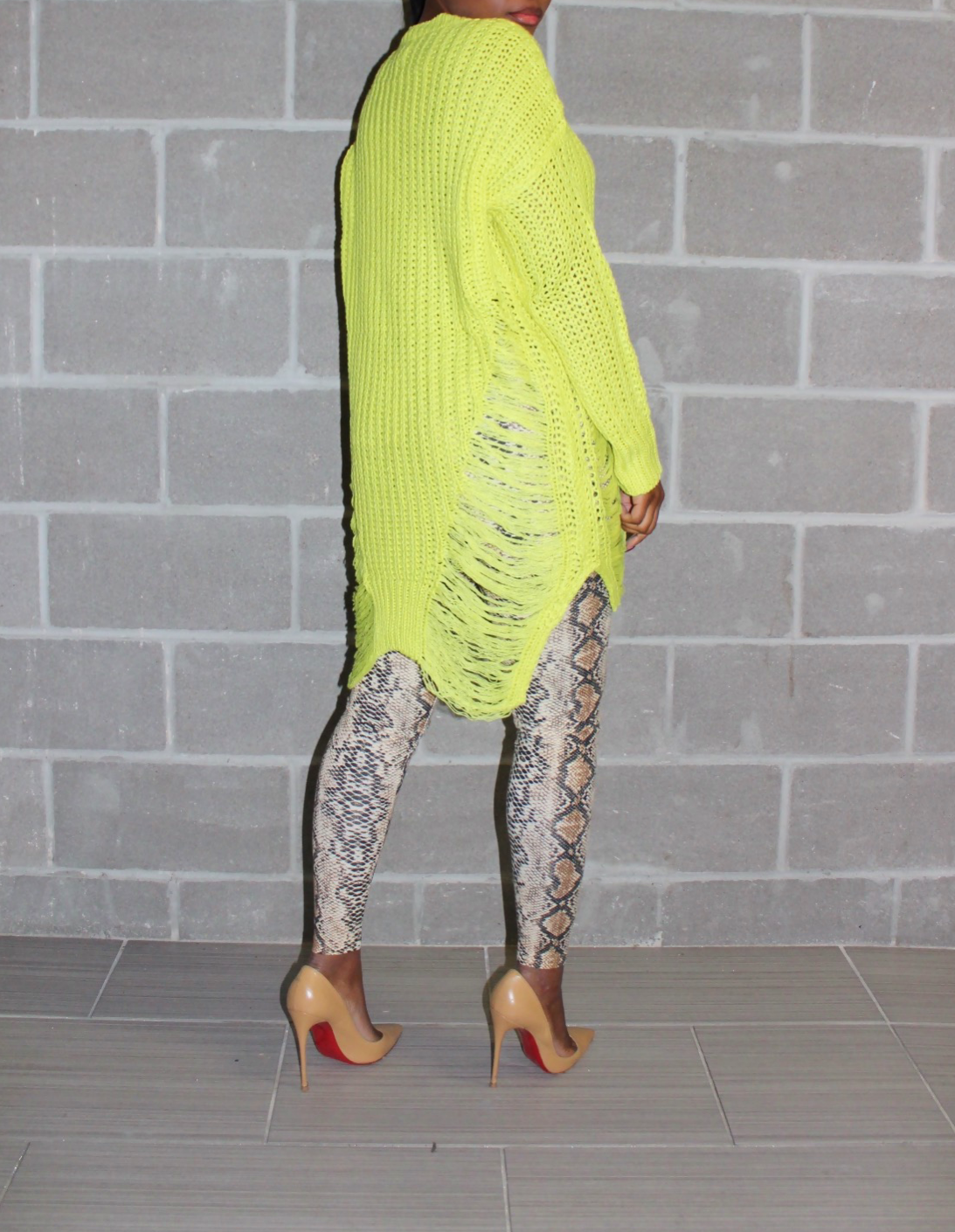 Slime green shredded sweater