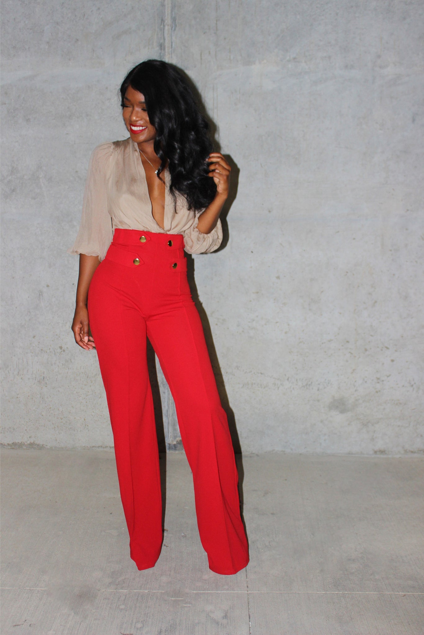 Red Stacy pant