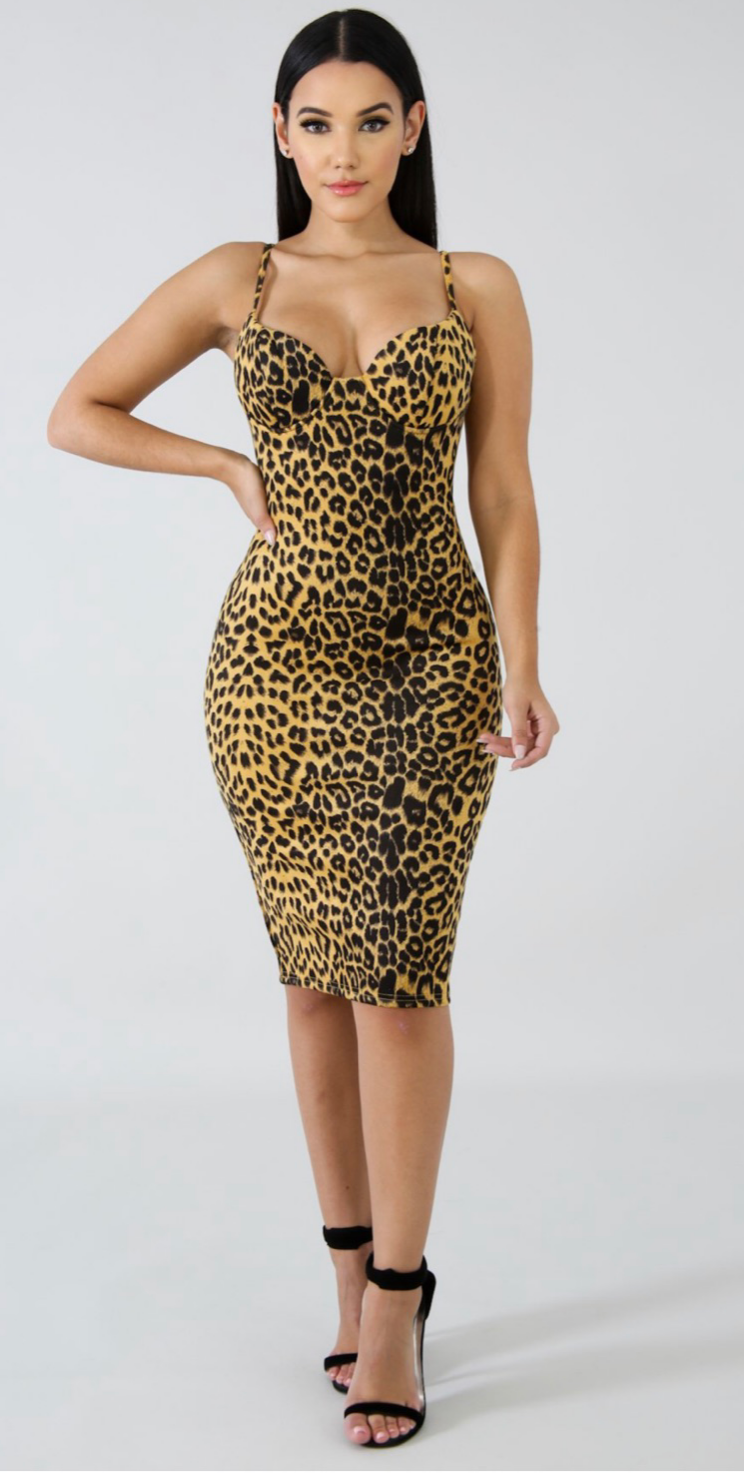 Yellow leopard bodycon