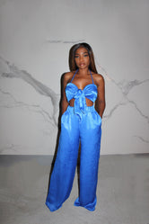 Blue satin Beach set