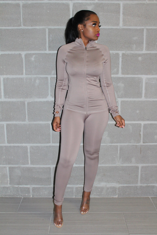 Nude luxe track suit