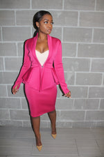 Magenta Peplum skirt suit