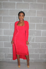 Red  duster dress Set