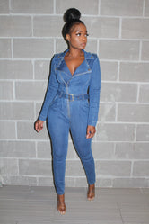 Fall denim jumpsuit