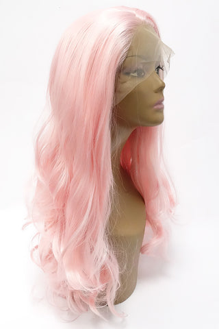 LACE WIG KARA | HEAT FRIENDLY SYNTHETIC HAIR COLOR PINK