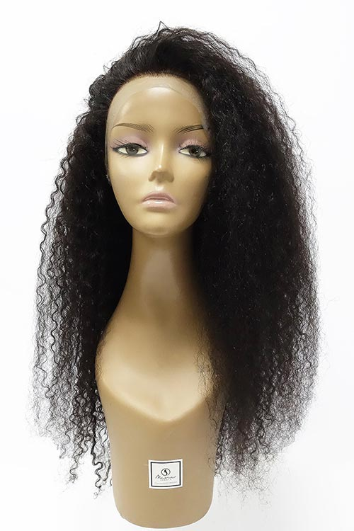"100% brazilian virgin human hair. 360 kinky curly wig shown is 28"" long with a high density of 180%"