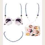 Blue color beaded chain necklace for masks and glasses kids