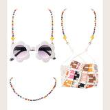 Multi color beaded chain necklace for masks and glasses kids