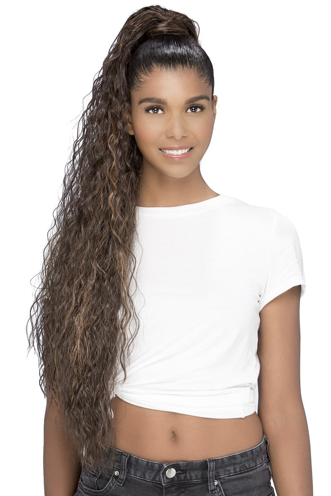 "Long Water Wave Ponytail | Synthetic 32"" Long Drawstring Ponytail"