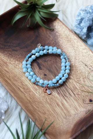 Blue Dreams Wrap Mala Bracelet