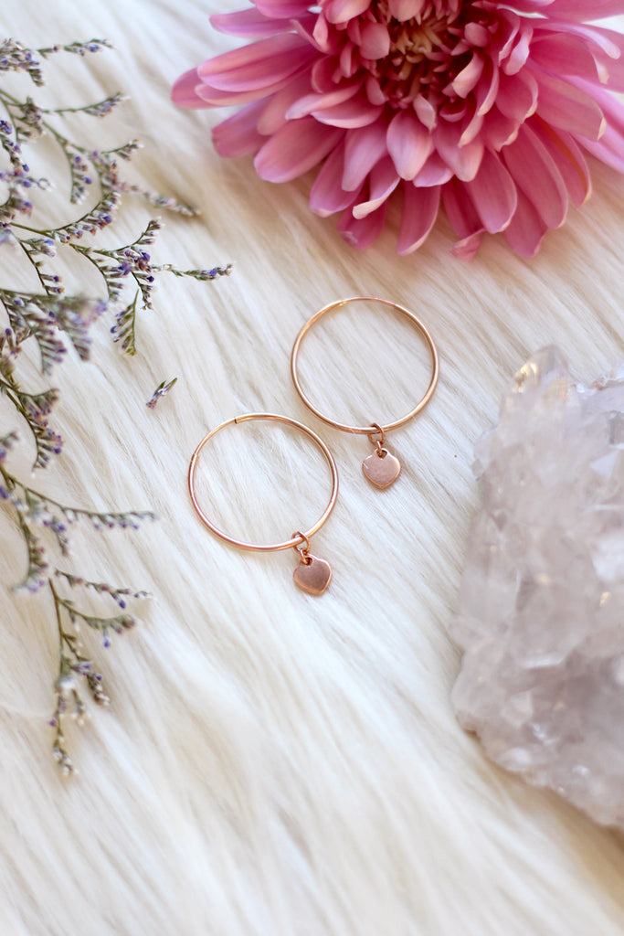 Heart Rose Gold Hoop Earrings