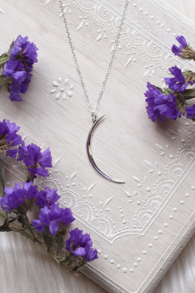 Dark Moon Crescent Silver Necklace
