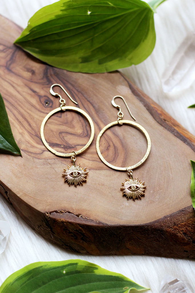 Sunshine Eyes Gold Hoop Earrings