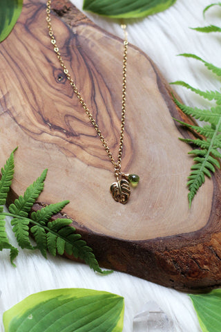 Monstera Gold Necklace