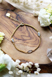 Harvest ~ Wheat Chain w/ 3 CZ Gold Bracelet