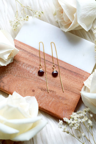 Garnet Ear Threaders Earrings {Gold or Silver}
