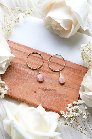 Sunstone Baby Hoop Earrings {Gold or Silver}
