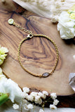 Blossom ~ Wheat Chain w/ CZ Gold Bracelet