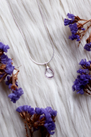 Pink Amethyst Dew Drop Silver Necklace