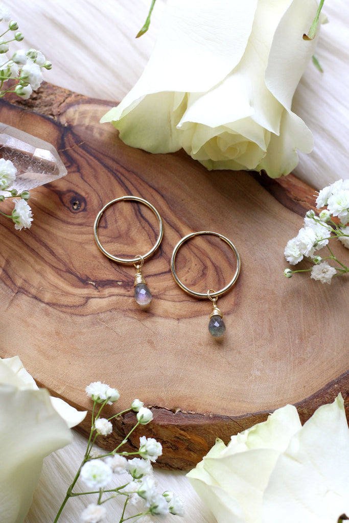 Labradorite Baby Hoop Earrings {Gold or Silver}