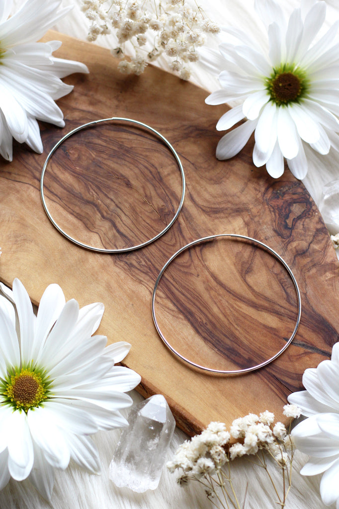 Large + Skinny Silver Hoops