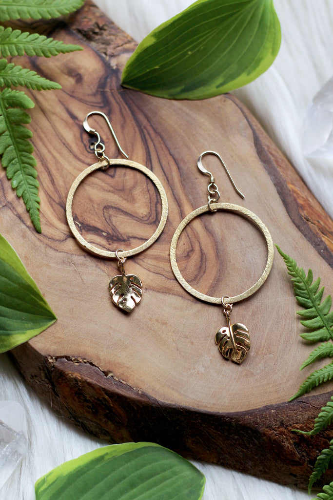 Monstera Gold Hoop Earrings