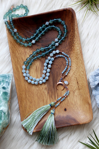 Blue Moon Mala with Moonstone Drop Wrap
