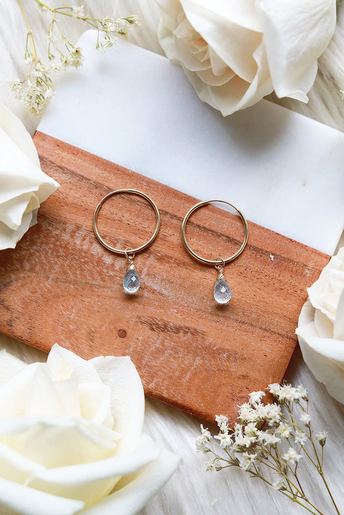 Blue Topaz Baby Hoop Earrings {Gold or Silver}