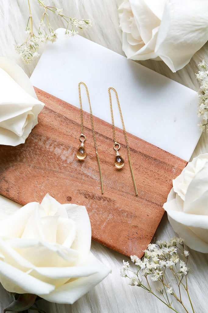 Citrine Ear Threaders Earrings {Gold or Silver}