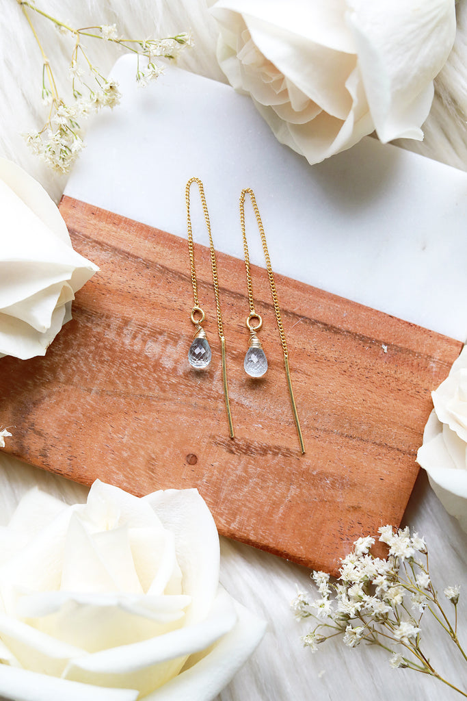 Blue Topaz Ear Threaders Earrings {Gold or Silver}
