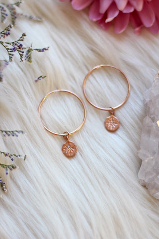 Stardust Rose Gold Hoop Earrings