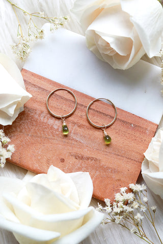 Peridot Baby Hoop Earrings {Gold or Silver}