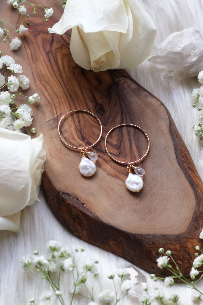 Pearl + Moonstone Dew Drop Hoop Earrings {Gold or Silver}