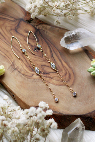 Dangle + Drip CZ Gold Earrings