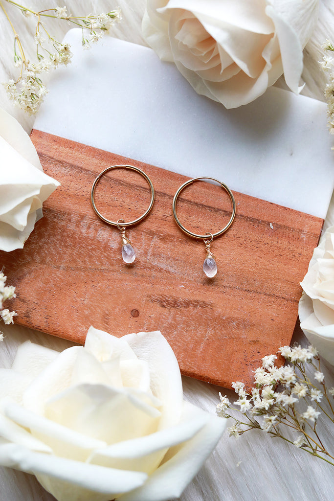Moonstone Baby Hoop Earrings {Gold or Silver}