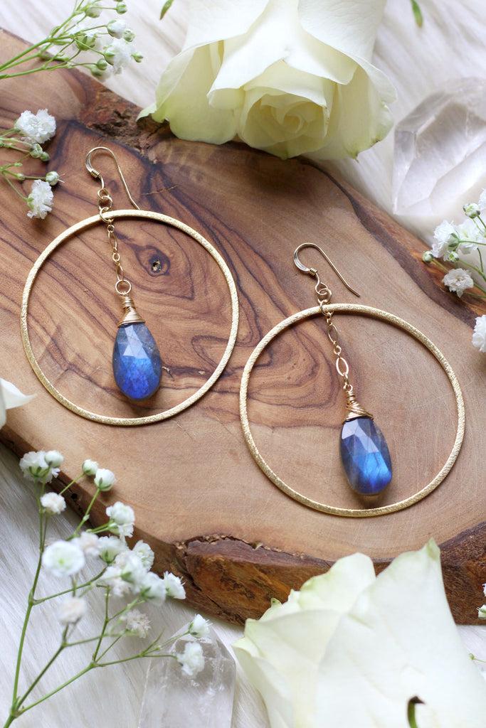 Labradorite Eclipse Hoops Gold Earrings